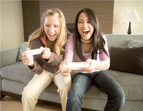 friends playing wii console